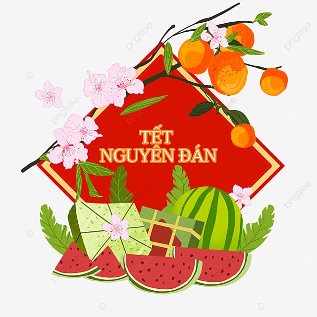 vietnamese spring festival healthy watercolor border