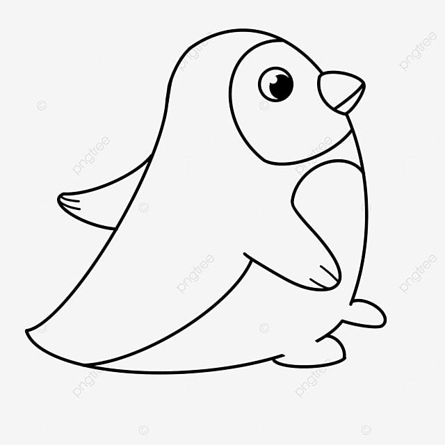 walking penguin clipart black and white