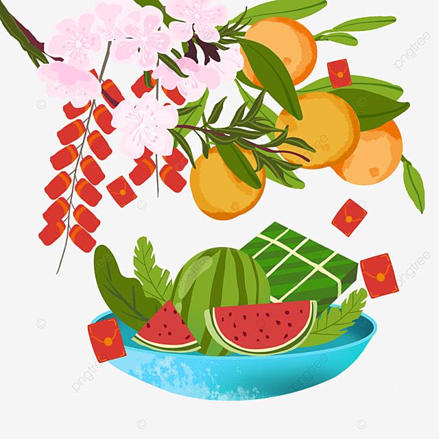 watercolor auspicious border for vietnamese spring festival
