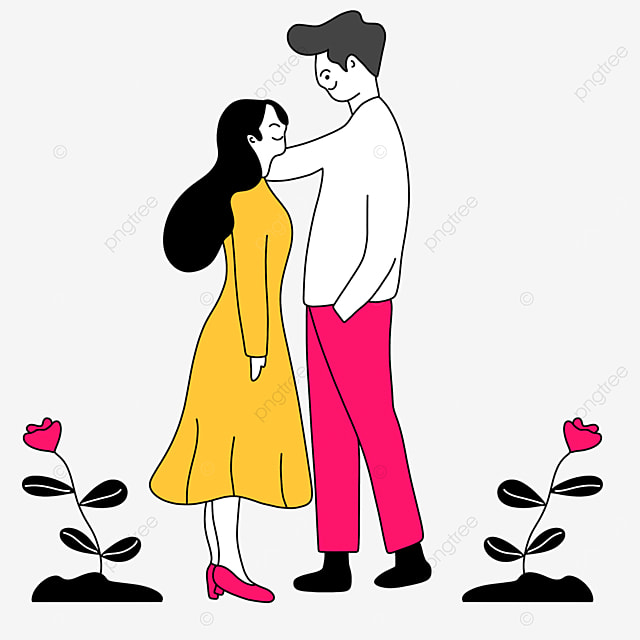 yellow dress girl couple valentines day line character illustration