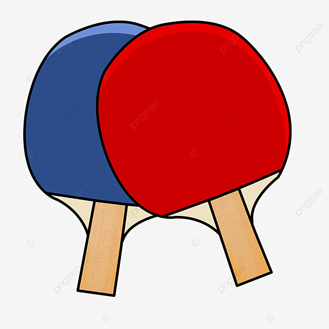 a pair of red and blue wood grain table tennis clipart