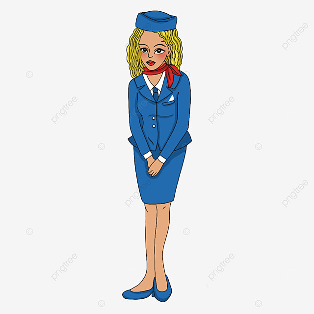 air hostess doing polite welcome gesture clipart