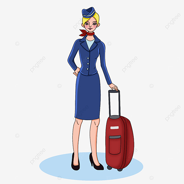 air hostess in formal wear clipart