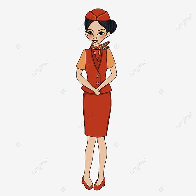 air hostess in orange uniform clipart