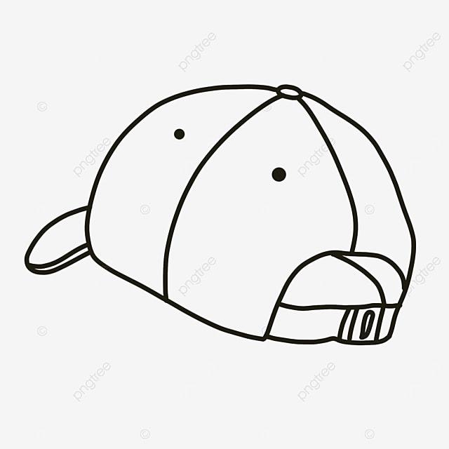 baseball cap back angle hat clipart black and white