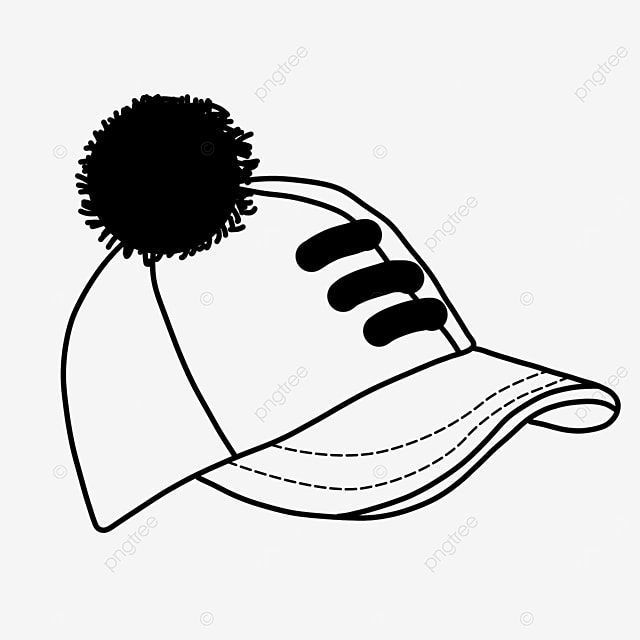 baseball cap ball decoration costume hat clipart black and white