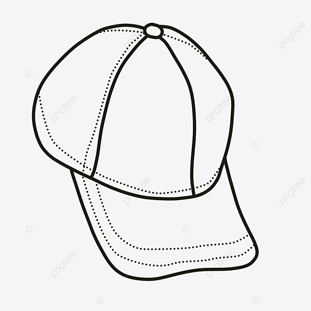 baseball cap dress with hat clipart black and white