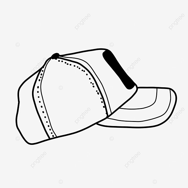 baseball cap side view hat clipart black and white
