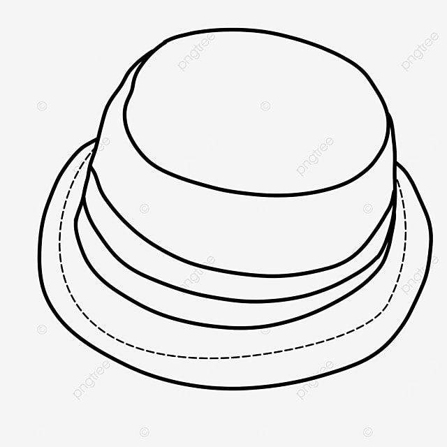 beach sunscreen straw hat hat clipart black and white