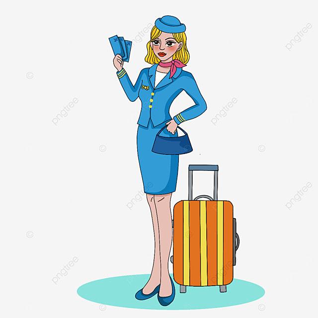 beautiful and generous stewardess clipart