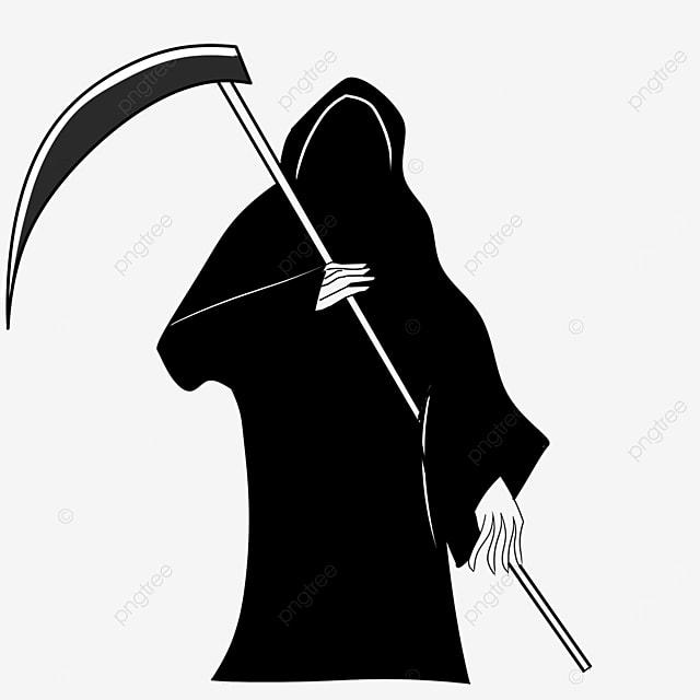 black white grim reaper clip art