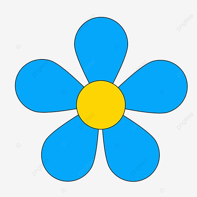 blue yellow stamen floret flower clipart