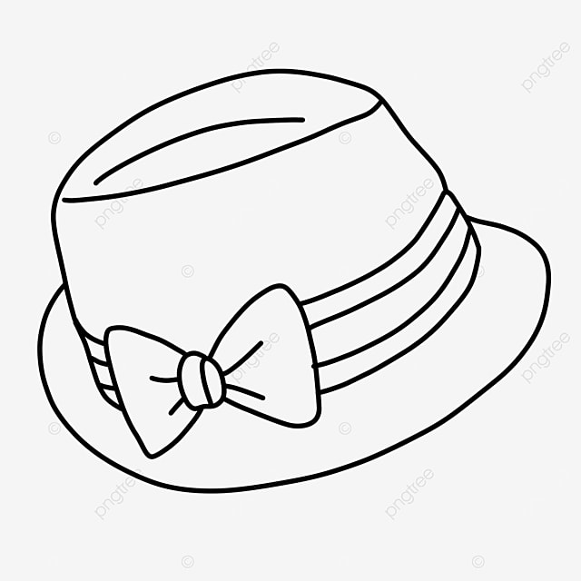 bow woven straw hat dress hat clipart black and white