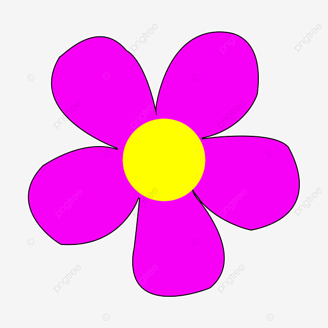 bright pink yellow flower clipart