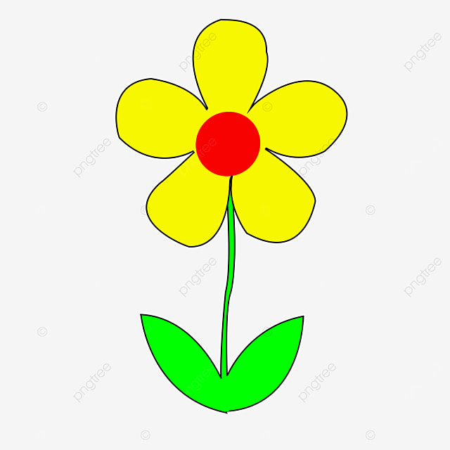 bright yellow flower with green leaves clipart