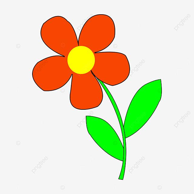 brilliant orange light yellow green leaf flower clipart