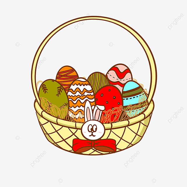 bunny cartoon easter basket clipart
