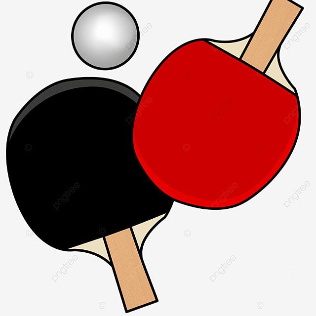 cartoon black red reverse table tennis clipart