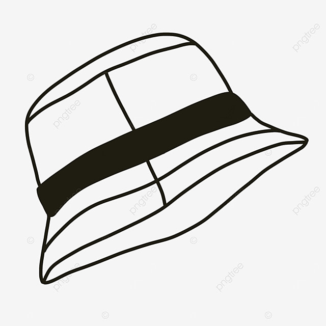 casual clothing blocking hat clipart black and white
