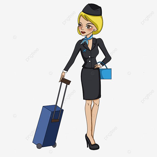 charming stewardess clipart