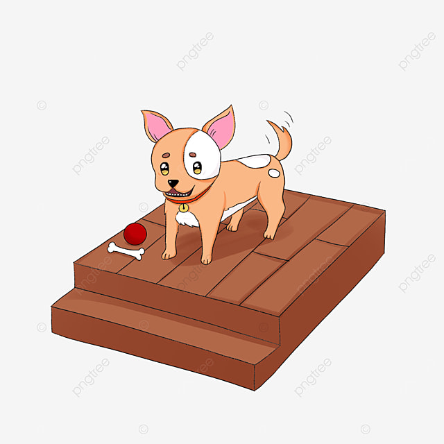 chihuahua standing on the stairs clipart