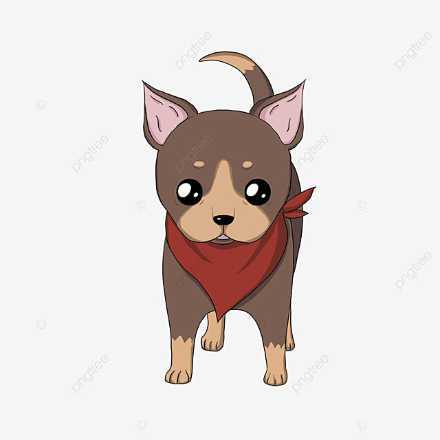 chihuahua wearing red scarf clipart
