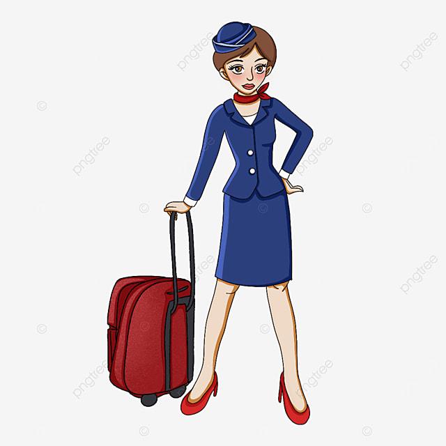 cute short hair stewardess clipart