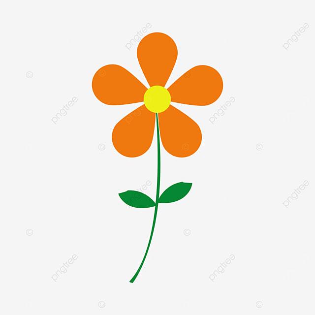 dark orange flower with green leaves clip art