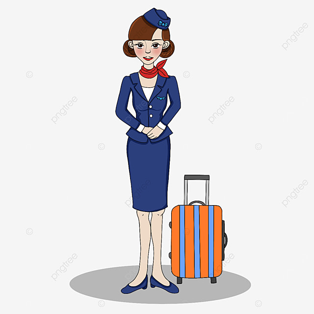 dignified and elegant stewardess clipart