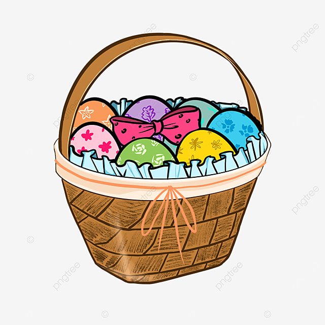 easter basket with decorated eggs clipart