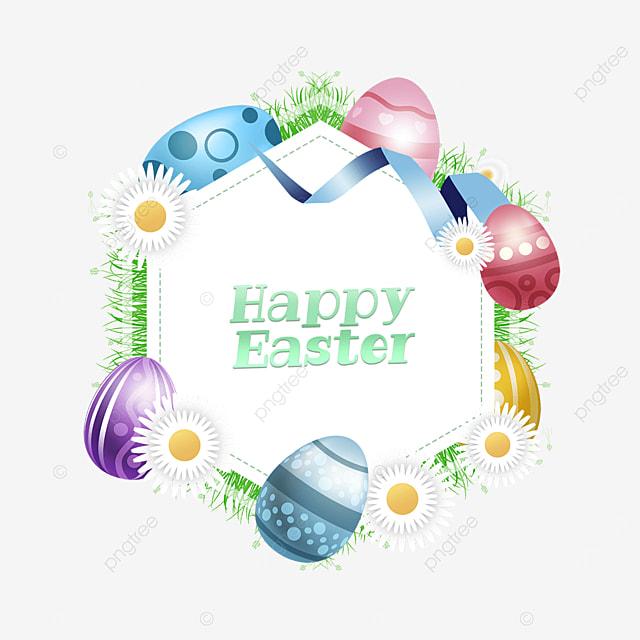 easter egg holiday hexagon border