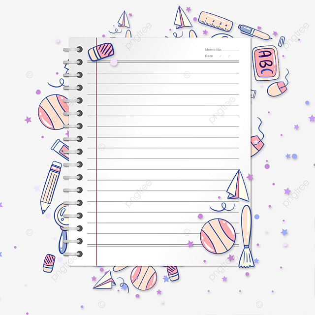 education pink stationery notebook border