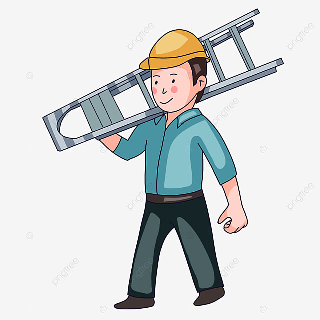 electrician carrying a ladder clipart