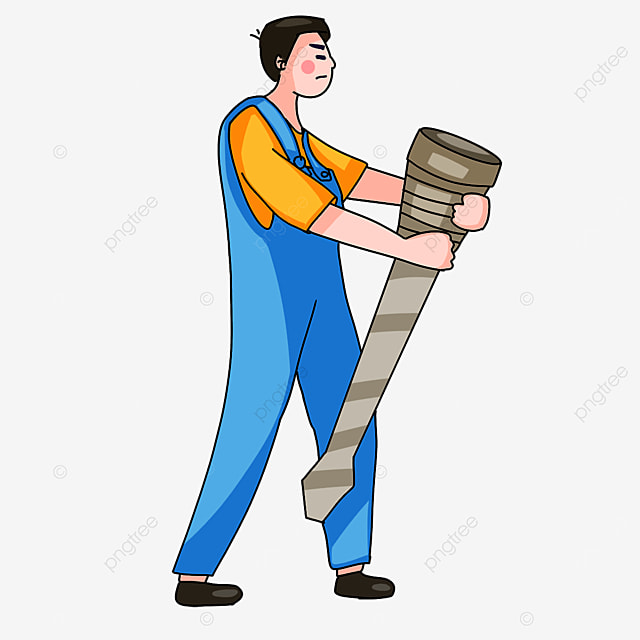 electrician carrying a screw clipart