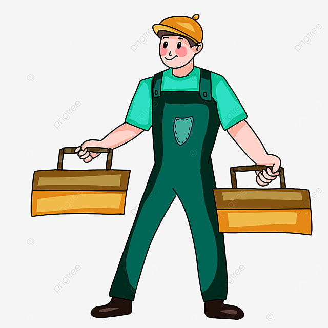 electrician holding toolbox clipart