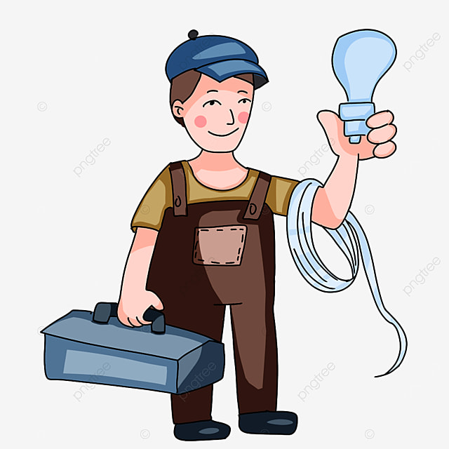 electrician holding various tools clipart