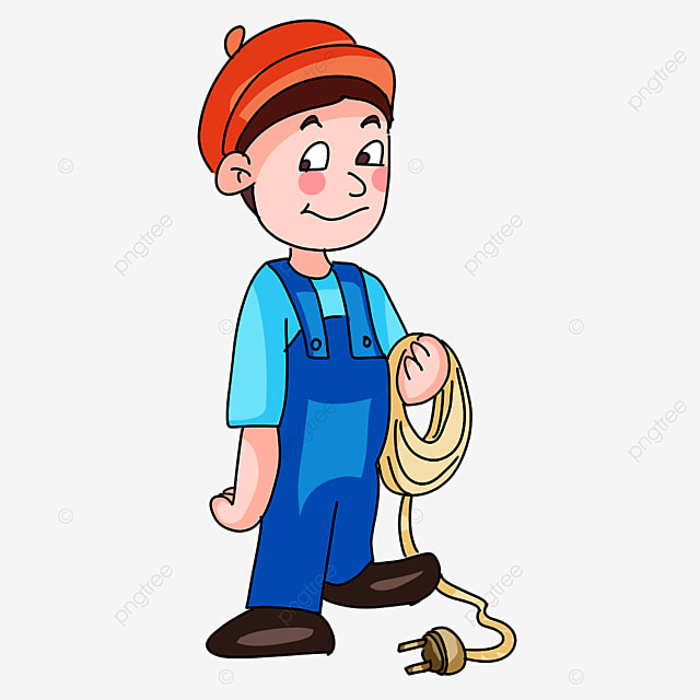 electrician holding wires clipart