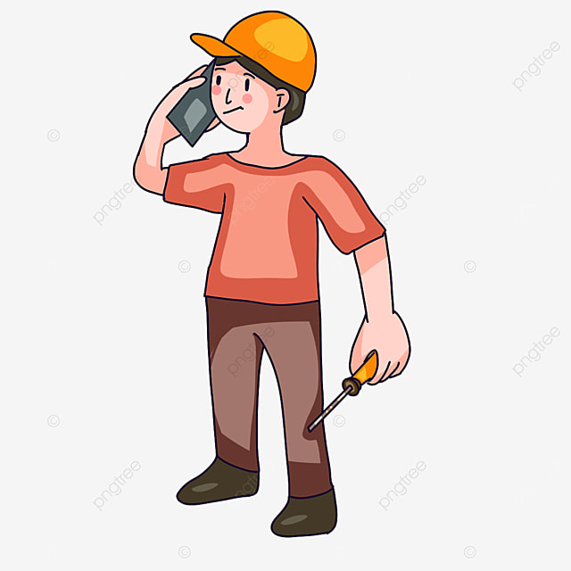 electrician on the phone clipart
