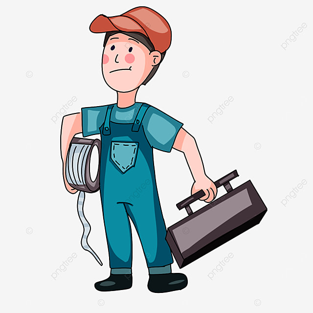 electrician wearing blue clothes clipart