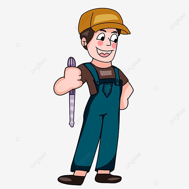 electrician wearing dark overalls clipart