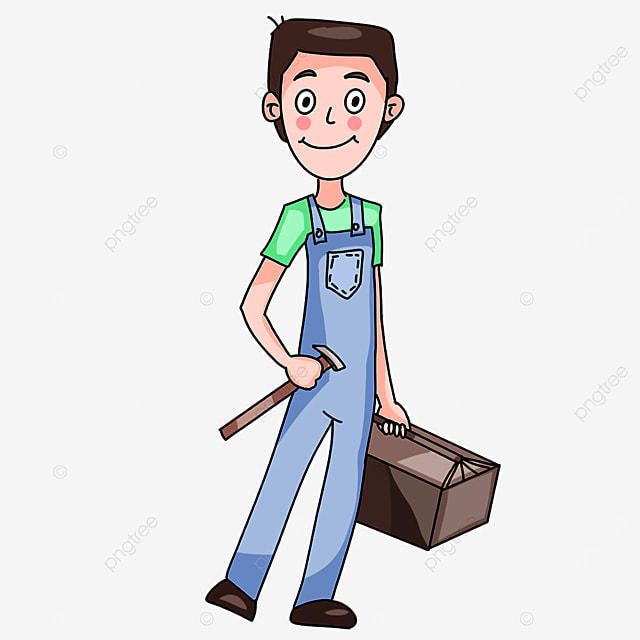 electrician wearing light overalls clipart