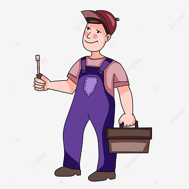 electrician wearing purple overalls clipart