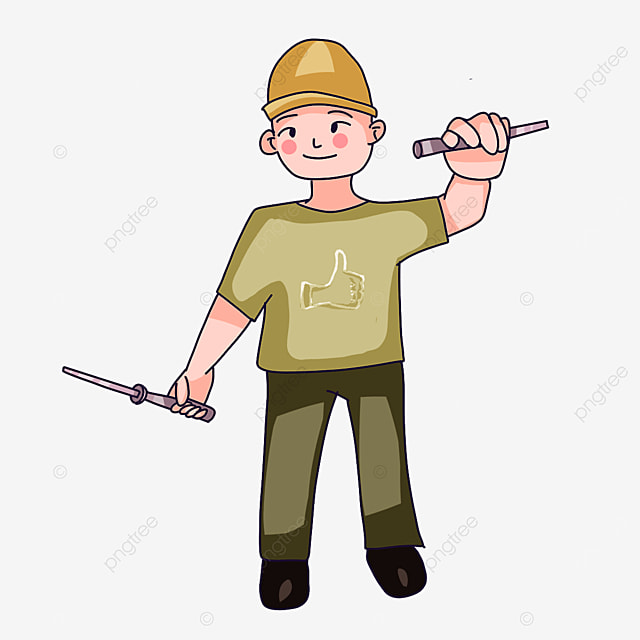 electrician wearing yellow hat clipart