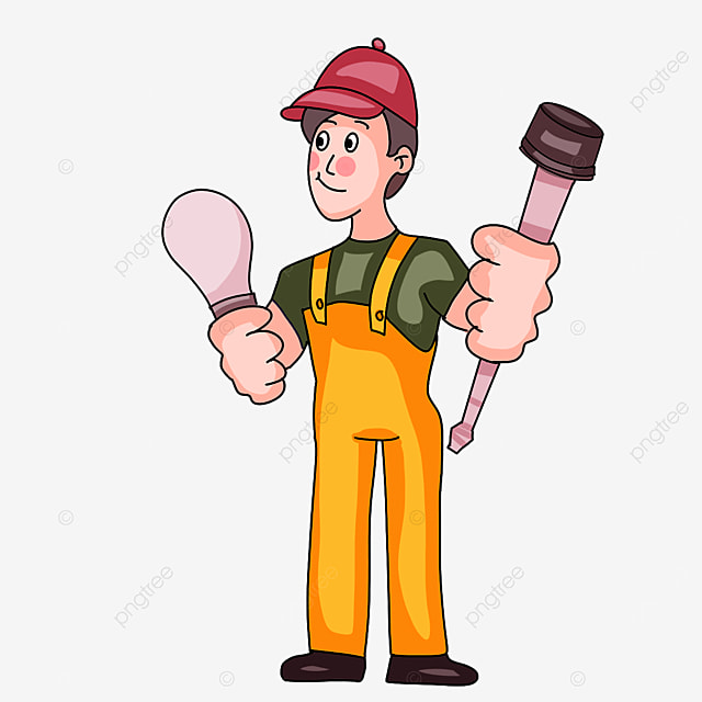 electrician with red hat clipart