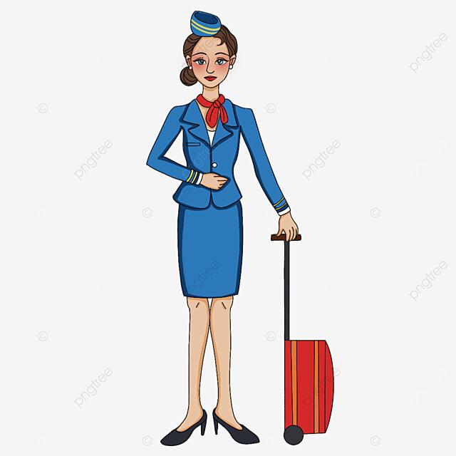 exquisite and elegant stewardess clipart