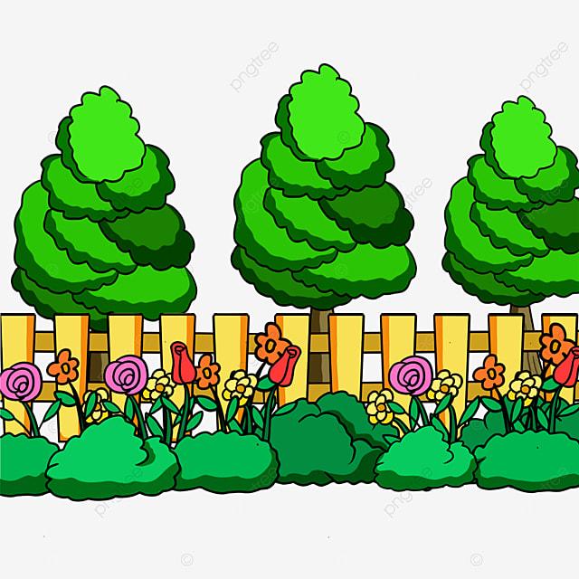 flowers fence park clip art