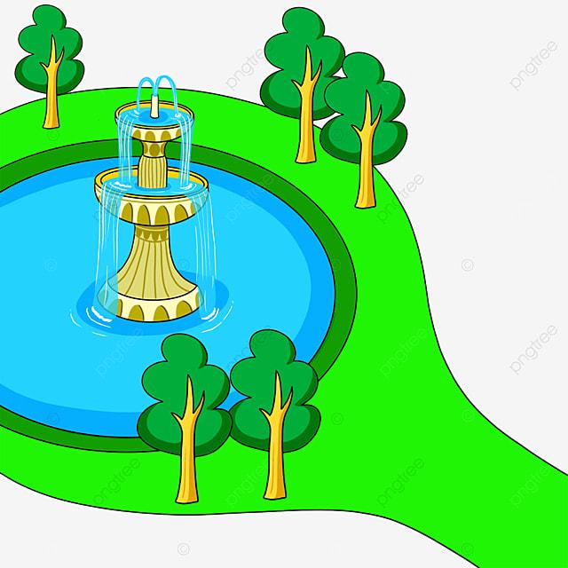 fountain park clip art