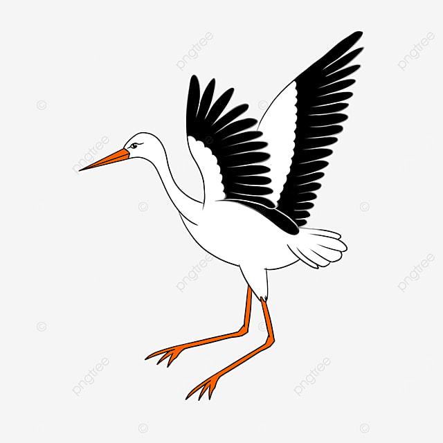 free flying white stork clip art