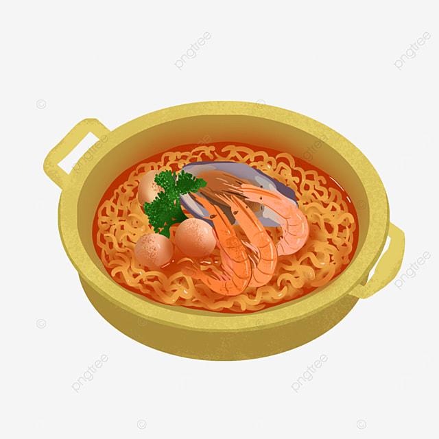 golden seafood fish ball ramen clipart