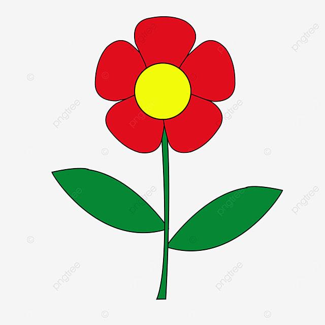green leaf big red flower flower clipart